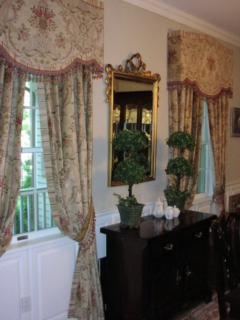 Formal dining room for Formal dining room window treatments