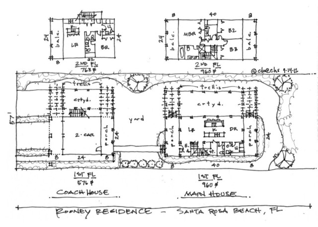Gulf coast home coach house tropical floor plan for Gulf coast cottage plans