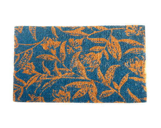 """CocoMatsNMore - CocoMatsNMore Contemporary Blue Leaves Design Coco Doormats - 18"""" X 30"""" - Eco-friendly Coco Mat are hand-woven and  made from 100% natural coir . These coco doormats are designed to last for a long time and are easy to maintain and clean by either shaking or hosing it down. Designed with fade-resistant dyes they are durable enough to withstand the harshness of weather and look good througout the year. Furthermore, they keep your house clean by doing a fabulous job of trapping the dirt, mud and debris right at the doorstep."""