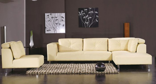 Elegant Curved Sectional Sofa In Leather Modern