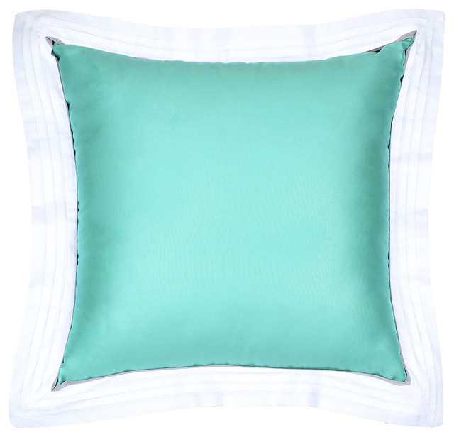 Sateen Tiffany Blue Flange Pillow - Modern - Decorative Pillows - by LaCozi
