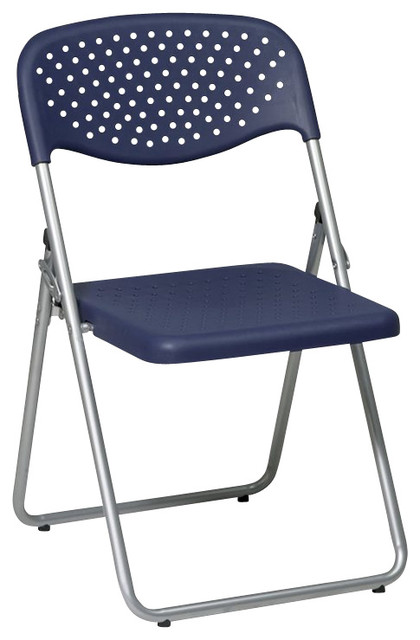 fice Star FC Series Set of 4 Plastic Folding Chair in Blue Transitional