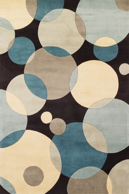 """Momeni New Wave Teal Green Circles Contemporary 7'6"""" x 9'6"""" Rug by RugLots contemporary-rugs"""