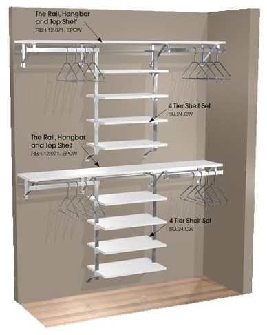 Arrange A Space 71 in. Double Hang Wall Closet with 8 Shelves - Contemporary - Closet Organizers ...