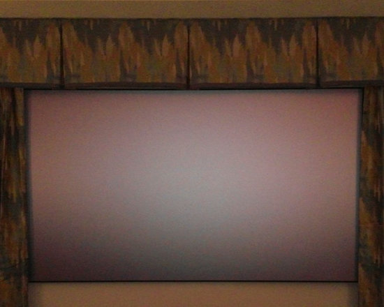 Drapery Ideas - Home Theater finished off with a box pleat valance and stationary side panels.