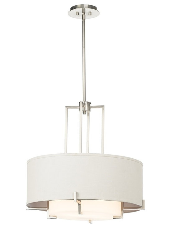 "Possini Euro Design - Possini Euro Concentric Shades 25"" Wide Pendant Light - A geometric composition of brushed nickel finish angles and white hardback fabric. Concentric circular shades soften the light. From the Possini Euro Design lighting collection. Brushed nickel finish. White fabric shades. White frosted inner glass. Takes four 100 watt bulbs (not included). Includes three 12"" and one 6"" rod. 24.5"" high. 25"" wide. Overall height is 70"". Hang weight is 13.22 pounds. Canopy is 7"" round.  Brushed nickel finish.  White fabric shade 24""W x 9""H  White frosted inner glass 15""W x 5""H  Takes four 100 watt bulbs (not included).  24.5"" high.  25"" wide.  Includes three 12"" and one 6"" rod.  7"" round canopy.  Hang weight is 13.22 pounds."