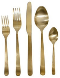 5-Piece Gold Cutlery Set traditional-flatware-and-silverware-sets