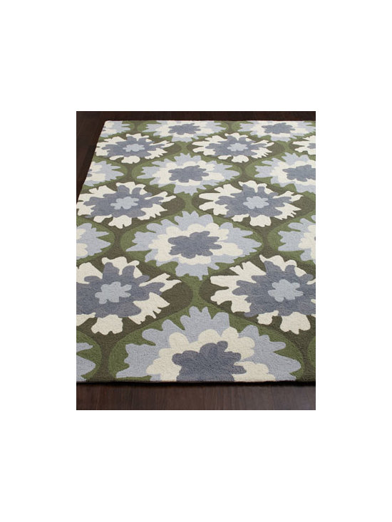 "Horchow - ""Pettibone"" Rug - Traditional loop-hook rug sets the room abloom with color with an overall, abstract floral motif. Designed by Kevin O'Brien. Made of wool. Sizes are approximate. Imported. See our Rug Guide for tips on how to measure for a rug, choosing weaves...."