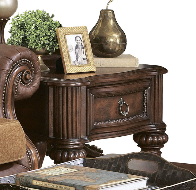 Homelegance Prenzo 26 Inch End Table with Drawers in Brown traditional-side-tables-and-end-tables