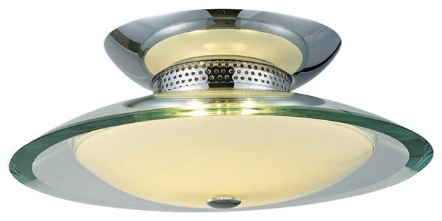 """Curva Chrome Round 2-Light 12"""" Wide Ceiling Light contemporary-ceiling-lighting"""