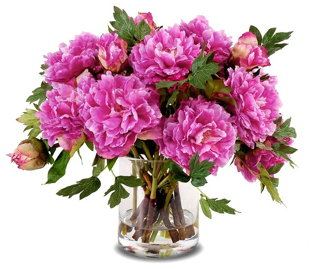 Peony Bouquet in Cylinder Vase, Fuchsia - Contemporary - Artificial Flowers Plants And Trees ...