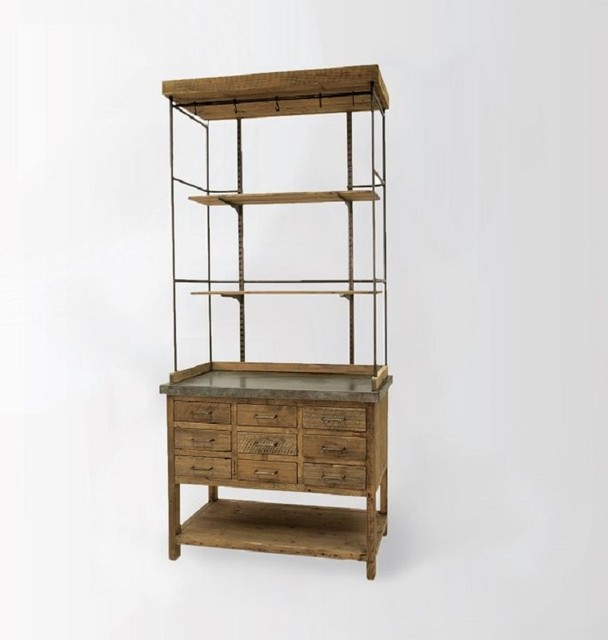 Ginger Wood + Metal Display Hutch - Rustic - China ...