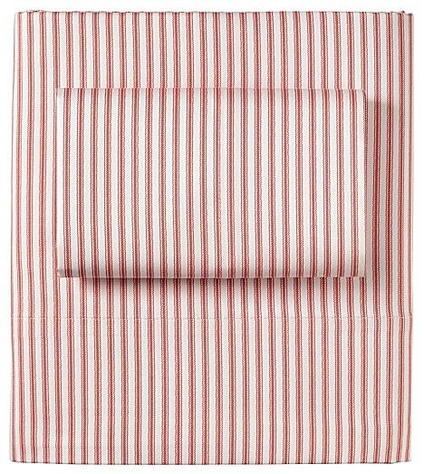 Ticking Stripe Sheet Set Barn Red Traditional Sheet