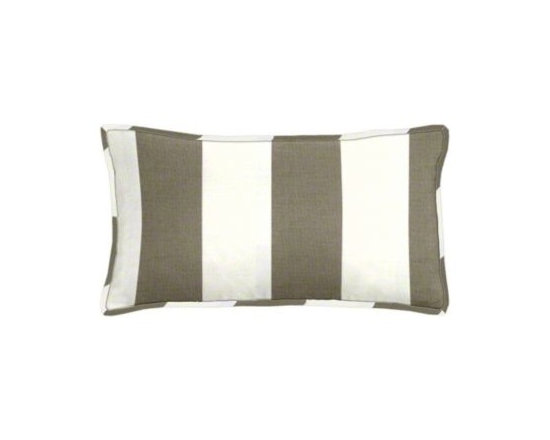 """Cushion Source - Bistro Driftwood Striped Outdoor Lumbar Pillow - The 20"""" x 12"""" Bistro Checkerboard Striped Outdoor Lumbar Pillow features a classic and bold taupe and white alternating stripe pattern."""