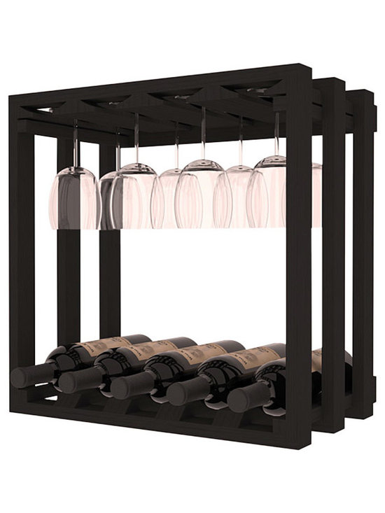 Wine Storage Lattice Stemware Cube in Pine with Black Stain - Designed to stack one on top of the other for space-saving wine storage our stacking cubes are ideal for an expanding collection. Use as a stand alone rack in your kitchen or living space or pair with the 20 Bottle X-Cube Wine Rack and/or the 16-Bottle Cubicle Rack for flexible storage.