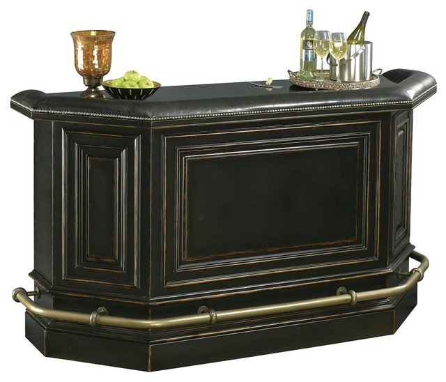 Northport Home Bar in Black w Padded Armrest - Contemporary - Wine And Bar Cabinets - by ShopLadder