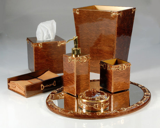 Hampton Bronze Bathroom Set - This regal and elegant set of bathroom accessories is too gorgeous for words. Featuring a classic gold equestrian motif, every piece in this collection is like jewelry for your vanity. Use this glossy, sophisticated set to add glamour to any bathroom or powder room.