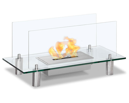 Moda Flame - Baza Free Standing Floor Indoor Outdoor Ethanol Fireplace - Baza modern ethanol fireplace is designed to reflect purity, simplicity and perfect for any indoor and outdoor setting. It is composed mostly of glass, allowing the natural element of the flame to boast proudly as its centerpiece. Tempered glass is used to support the burner and as a protective barrier from the flame, with four steel legs it allows the fireplace to  levitate as a floating fire.