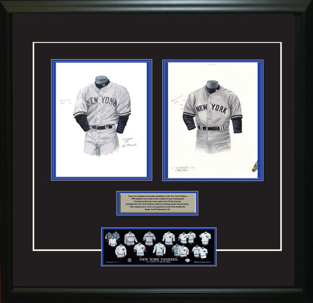 Original art of the MLB 1998 New York Yankees uniform traditional-game-room-wall-art-and-signs