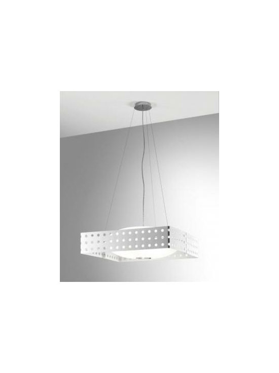 Endor S Pendant Lamp By Leucos Lighting - Endor S50 and S80 by Leucos is a modern pendant made from etched glass with a white pierced metal screen, or with a black or red acrylic shade surrounding the glass sphere.
