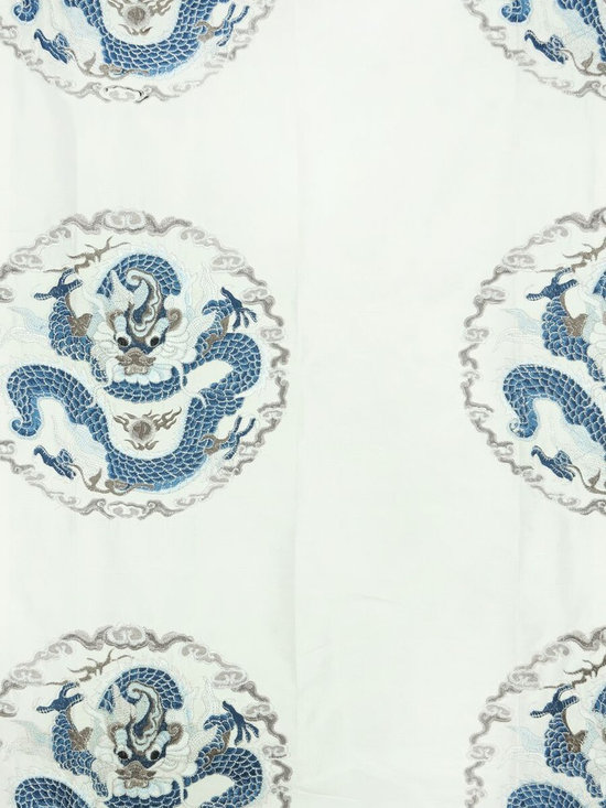 Blue Animal Custom Made Embroidered Dupioni Silk Curtains - These elegant window curtain combine the elegance of dragon motif with a fashionable color palette. The delicate embroidery of the curtain will add richness and color to your room.