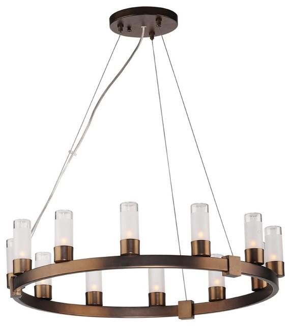 Contemporary Forecast Revolution Bronze Round 12-Light Chandelier contemporary-chandeliers