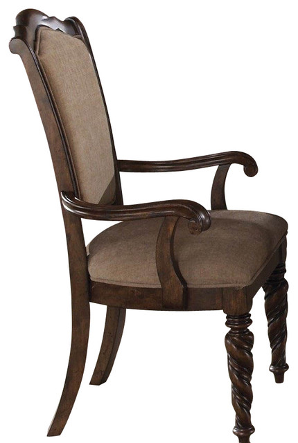 Liberty Furniture Arbor Place Upholstered Arm Chair in Brown, Dark Wood (Set of traditional-dining-chairs