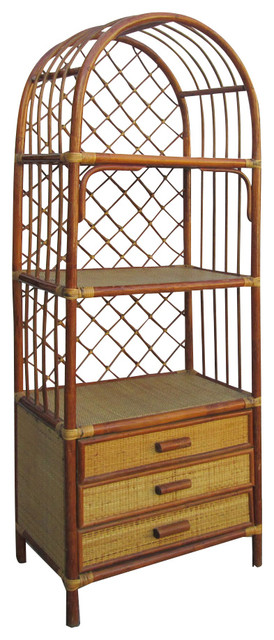 Chinese Antique Bamboo Rattan Face Hand Made Bookcase Display Cabinet - Asian - China Cabinets ...