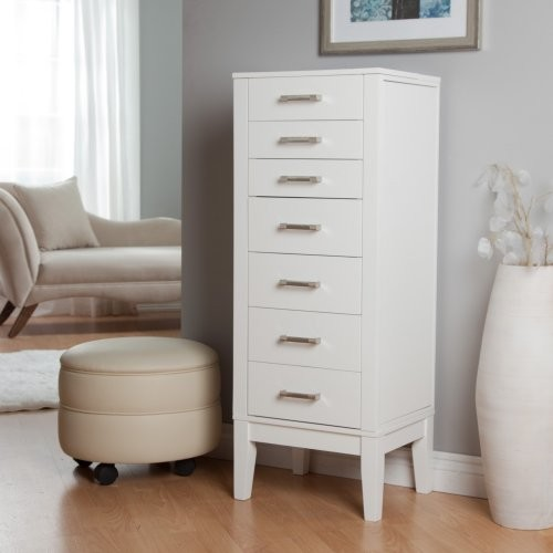 Hadley Floor Jewelry Armoire - High Gloss White contemporary-dressers