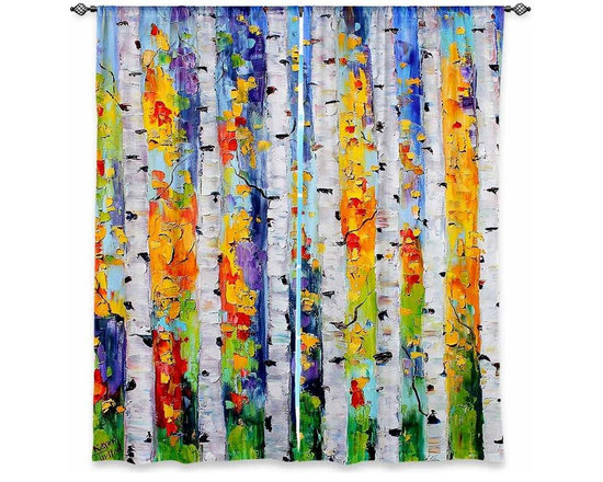 """DiaNoche Designs - Window Curtains Lined by Karen Tarlton Birch Trees - DiaNoche Designs works with artists from around the world to print their stunning works to many unique home decor items.  Purchasing window curtains just got easier and better! Create a designer look to any of your living spaces with our decorative and unique """"Lined Window Curtains."""" Perfect for the living room, dining room or bedroom, these artistic curtains are an easy and inexpensive way to add color and style when decorating your home.  This is a woven poly material that filters outside light and creates a privacy barrier.  Each package includes two easy-to-hang, 3 inch diameter pole-pocket curtain panels.  The width listed is the total measurement of the two panels.  Curtain rod sold separately. Easy care, machine wash cold, tumble dry low, iron low if needed.  Printed in the USA."""