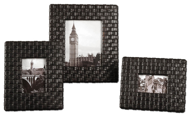 Maulana Black Woven Photo Frame Set of 3 traditional-picture-frames