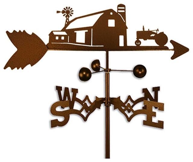 Farm Scene with Farmall International Tractor Steel Weathervane - Contemporary - Outdoor Decor ...
