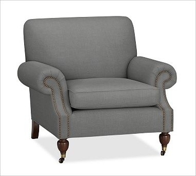 Brooklyn Upholstered Armchair, Washed/Linen Cotton Metal Gray traditional-accent-chairs