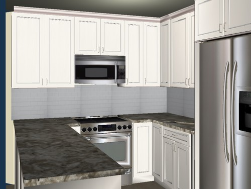 Corner kitchen cabinets angled or not for Angled corner kitchen cabinets