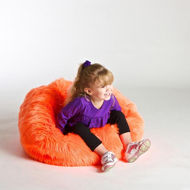 Orange Fabric Bean Bag modern-furniture
