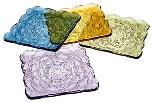 Godinger Marcella Square Desert Plates - Set of 4 Assorted Colors modern-dinner-plates