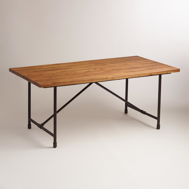 Wood And Metal Kairi Outdoor Dining Table Industrial Outdoor Dining Tables