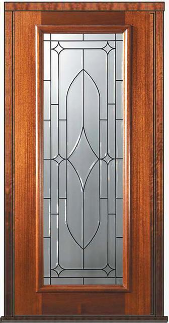 Prehung single door 80 wood mahogany bourbon full lite for Single front doors with glass