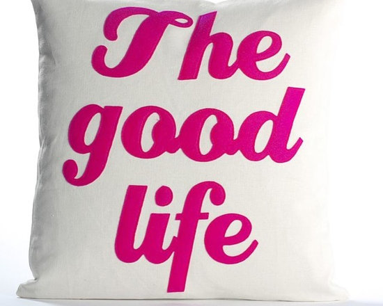 Alexandra Ferguson - Alexandra Ferguson The Good Life Pillow-Cream/Fuchsia - Available in small and largeRecycled polyester fill insert included. The felt that I use is made from 100 percent post consumer recycled water bottles. So, you drink water, throw the empty bottle in the recycling bin. Then they are melted down and turned them into this beautiful, really high quality soft felt that I then use to make pillows. All pillows have a nylon zipper closure, with the Alexandra Ferguson logo embroidered on the center back bottom. Prefer a woven fabric base? Opt for our hemp blend - this imported fabric is 55% hemp / 45% organic cotton, is sustainable and biodegradable, and made from socially responsible practices.