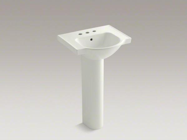"KOHLER Veer(TM) 21"" pedestal bathroom sink with 4"" centerset faucet holes contemporary-bathroom-sinks"