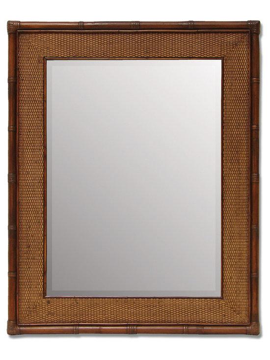 Palecek - Mandalay Wall Mirror - Rattan frame with inset cane matting. Metal hangers for vertical or horizontal hanging. Beveled mirror.