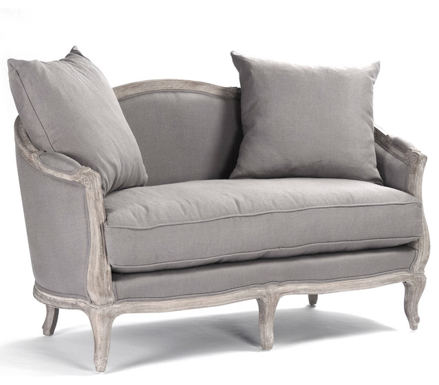 Rue Du Bac French Country Grey Linen Feather Settee Loveseat Victorian Sofas By Kathy Kuo Home