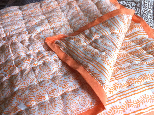 Tilonia Home: King Quilt - Hanuman Paisley & Centipede Stripe in Pumpkin contemporary-quilts-and-quilt-sets