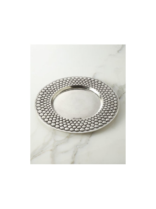 "Horchow - Medieval Pewter Charger Plate - With a design reminiscent of a medieval shield, this handsome charger plate adds texture and Old World charm to table settings. Handcrafted of pewter. Hand-painted antiqued-pewter finish. Hand wash. 13.75""Dia. Made in Italy."