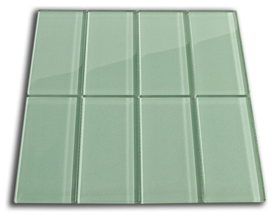 "Sage Green Glass Subway Tile 3"" x 6"" - The Sage Green Subway Tile is made from the strongest stain-resistant crystal clear glass. These tiles have a 8mm thickness that increases their durability and the depth of their color making them truly beautiful subway tiles. These subway tiles can be used for commercial or residential construction in either a wet or dry environment."