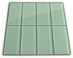 "Sage Green Glass Subway Tile 3"" x 6"" modern-tile"