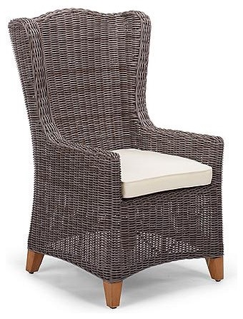 Vintage Wingback Outdoor Dining Chair Cushion, Patio Furniture traditional-accent-chairs
