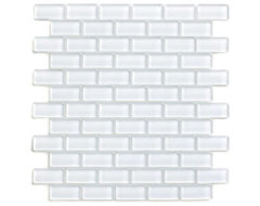 White 1x2 Mini Glass Subway Tile modern tile