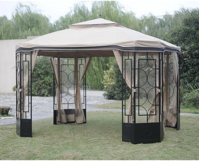 Hampton bay gazebos mosquito netting for alcove gazebo - Insect netting for gazebo ...