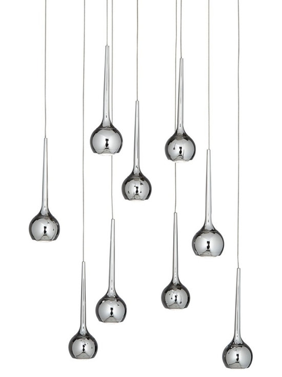 "Possini Euro Design - Possini Euro Gia 18 1/2"" Wide Chrome LED Multi Light Pendant - Gia contemporary multi light pendant. By Possini Euro Design. Chrome finish. Metal construction. Acrylic diffusers. Includes nine 4.5 watt LEDs. Light output is 350 lumens per light. Comparable to nine 35 watt incandescent bulbs. 3000K color temperature. Includes cords for hanging. 18 1/2"" wide.  Gia contemporary multi light pendant.  By Possini Euro Design.  Chrome finish.  Metal construction.  Acrylic diffusers.  Includes nine 4.5 watt LEDs.  Light output is 350 lumens per light.  Comparable to nine 35 watt incandescent bulbs.  3000K color temperature.  Includes 4 feet adjustable cord.  18 1/2"" wide.  18"" high."